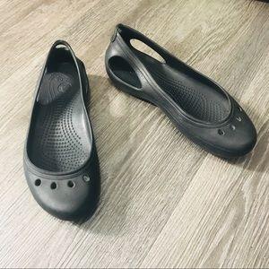 Crocs Black Kadee Rainy Day Work Flats Size 6